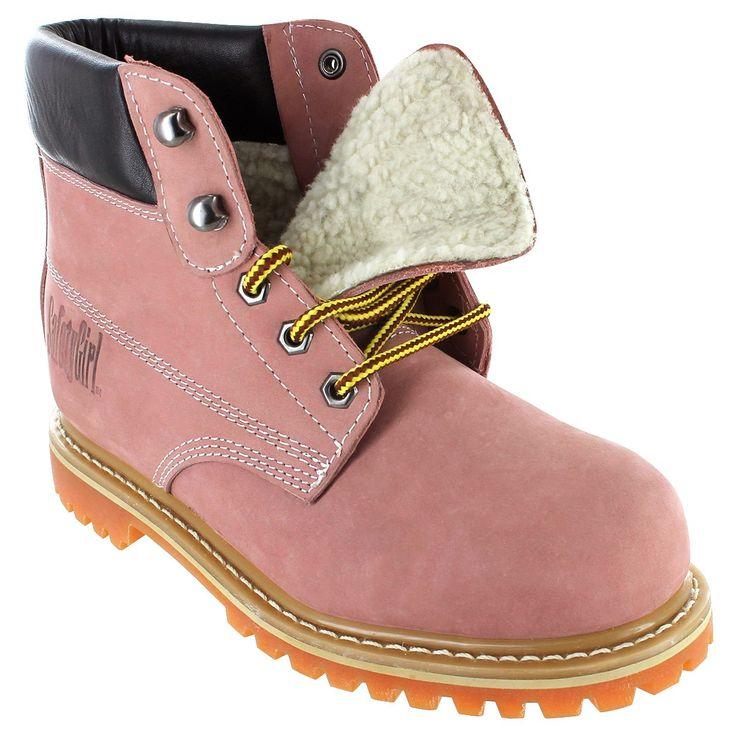 Safety Girl II Sheepskin Lined Womens Work Boots - Light Pink