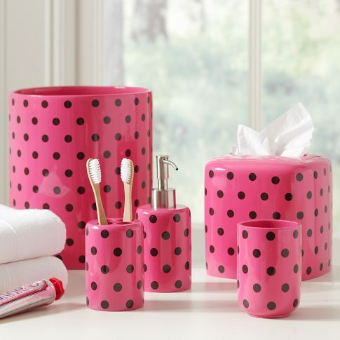Dottie Bath Accessories |. Brown and pink! this would look super cute in my new bathroom!