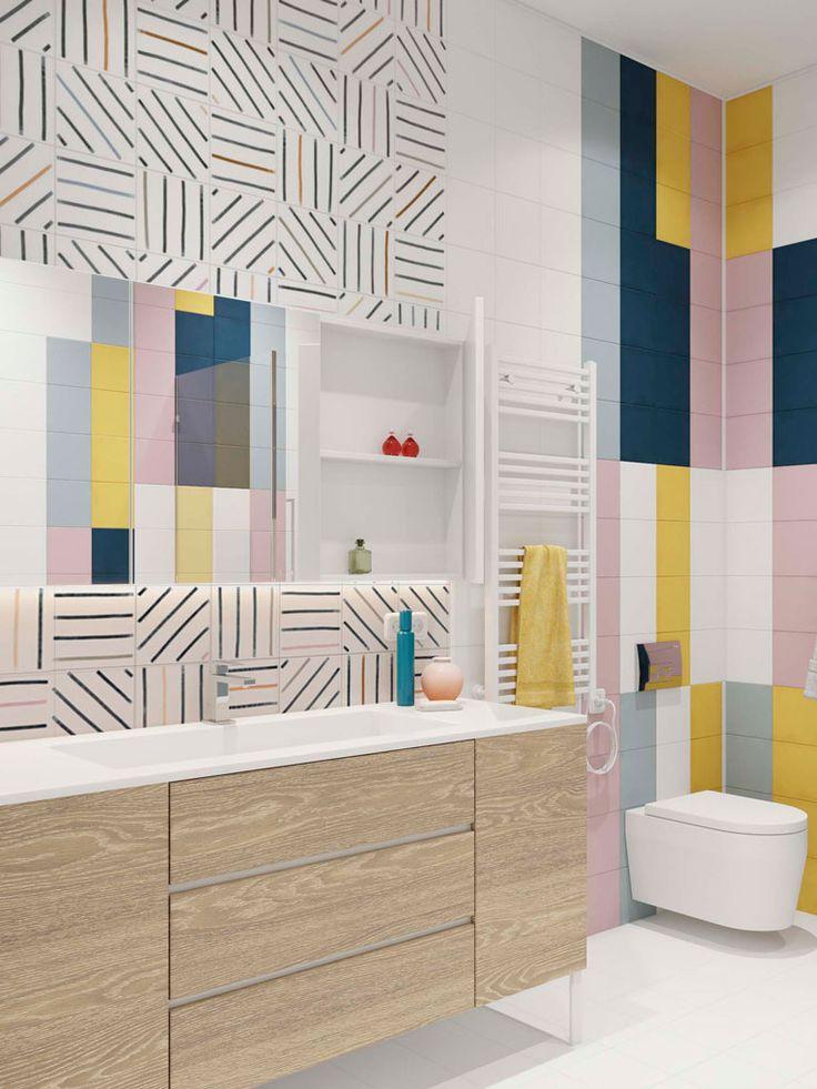 скандинавский стиль в интерьере, минимализм, интерьер с белыми стенами, цветовые акценты в интерьер, санузел цветной, цветная плитка,