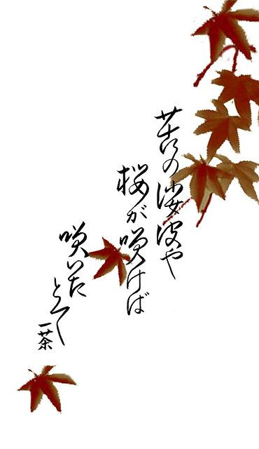 """Issa Haiku   """"This haiku was rendered for me by a professional calligrapher. The haiku, written by the Master Issa has always seemed to reflect the path of my life. It translates to English as:  """"In a world of grief and pain, flowers bloom, even then"""" In Japanese (phonetically): """"ku no shaba ya sakura ga sakeba saita tote"""".    The Momiji leaves were (poorly) ripped from an image I have of a beautiful Sumi-e painting."""""""