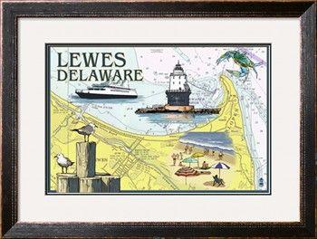 Lewes, Delaware - Nautical Chart Print by Lantern Press at Art.com