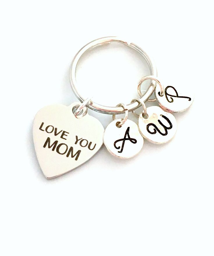 Love You Mom Gift, Multiple Letters, Mother's KeyChain from Children Kids Keyring Key chain letter Initial Personalized Custom 2 3 4 5 6 7 by aJoyfulSurprise on Etsy