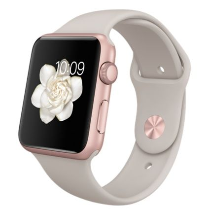 Apple Watch Sport - Boîtier en aluminium or rose de 42 mm avec Bracelet Sport gris sable - Apple (FR)