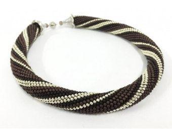Perlen häkeln Halskette Spitzen häkeln Seil von DolgovaSvetlana