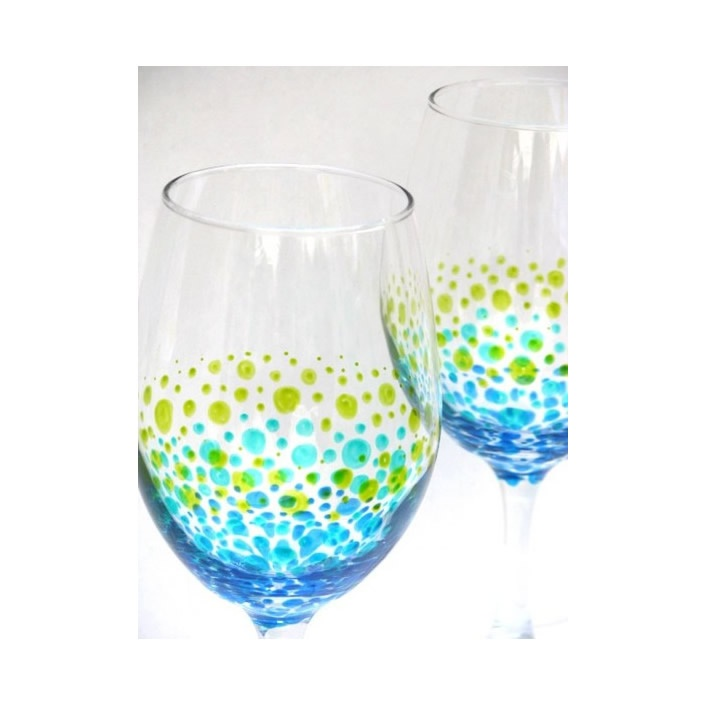 Hand painted wine glasses with ocean inspired design for Hand designed wine glasses
