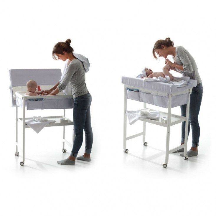 Bañera cambiador Basic Blanca Bolin Bolon. El interior está dotado de un cómodo asiento ergonómico para mayor seguridad del bebé.Despues de usarlo como mueble bañera lo podemos reconvetir en una mesita auxiliar. También esta disponible en madera