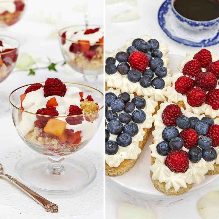 Med en vanlig sockerkaka, färska bär och grädde kan du göra enkla bakelser och desserter serverade i vackra glas.