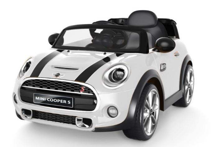 mini cooper wit 12v kinder auto met afstandsbediening. Black Bedroom Furniture Sets. Home Design Ideas