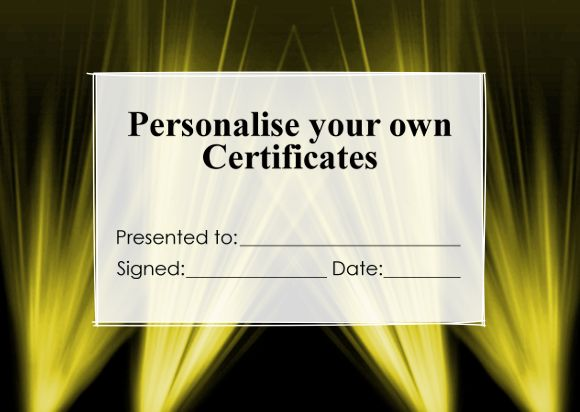 Make it Personal! Just add your own text for an instant personalised - certificate