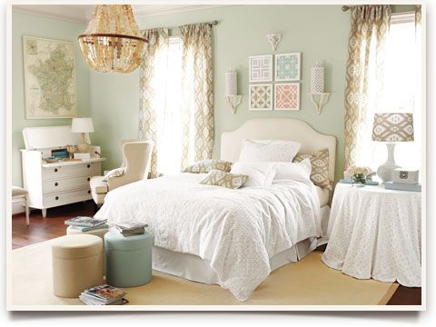 bedroom decorating ideas wall color white linens and love the