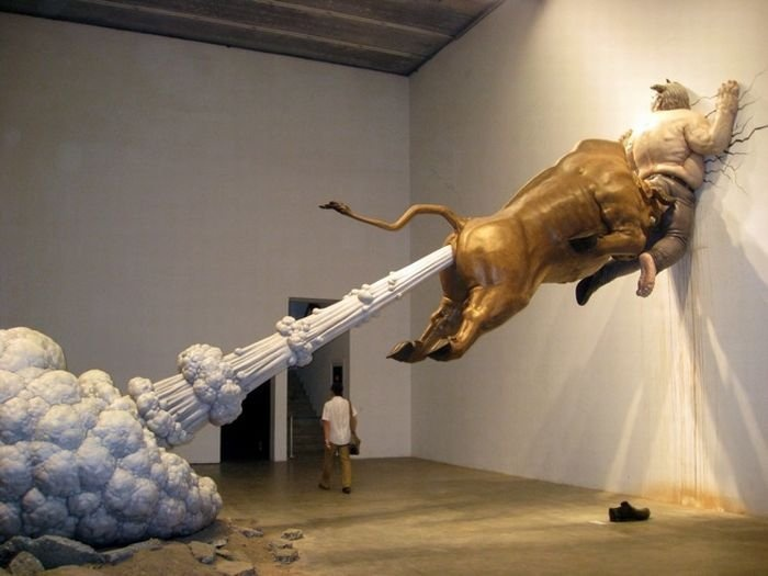 Fabulous sculpture: Installation, Funny Pictures, Be Real, Art Sculptures, Animal Sculptures, Wall Street, Golden Bull, Photo