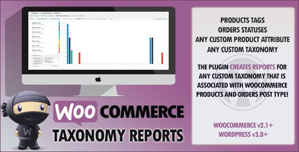 WooCommerce Custom Taxonomy Reports   http://codecanyon.net/item/woocommerce-custom-taxonomy-reports/8210455?ref=damiamio       The plugin will provide charts for products and orders using custom taxonomies. Just like the Sales by Product Category report, you can now have the sales by product tags, any custom product attribute, any custom products taxonomies, and any custom orders taxonomies as well (like custom order statuses ..etc.).  Features   Add custom taxonomy reports by products…