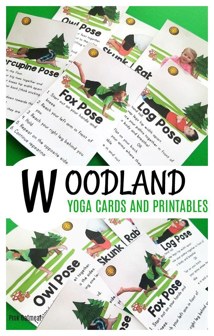 Woodland Kids Yoga Cards And Printables School Animal