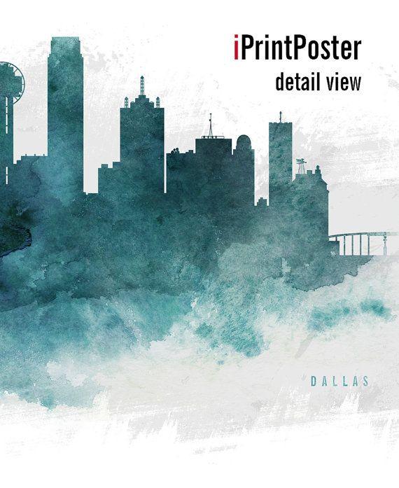 Dallas poster Dallas skyline print Texas Wall art by iPrintPoster