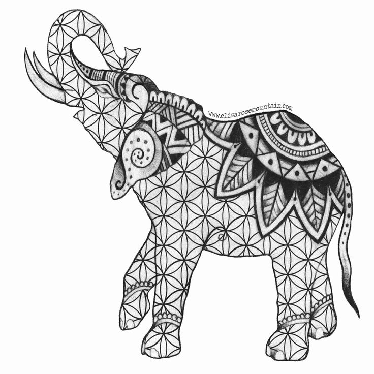 Henna Animal Coloring Pages in 2020 Elephant coloring