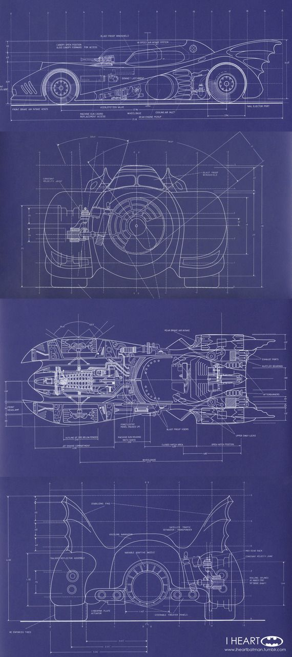 "Blueprints and Schematics of the Batmobile, designed by Anton Furst, for Tim Burton's 1989 ""Batman"" movie"