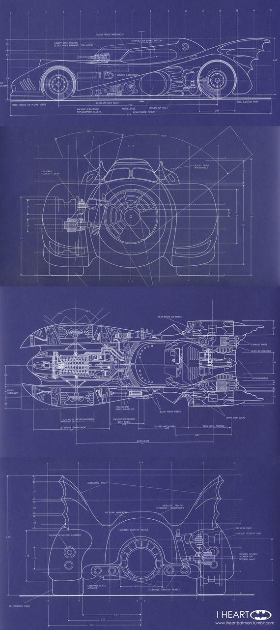 "Blueprints and Schematics of the Batmobile, designed by Anton Furst, for Tim Burton's 1989 ""Batman"" movie"