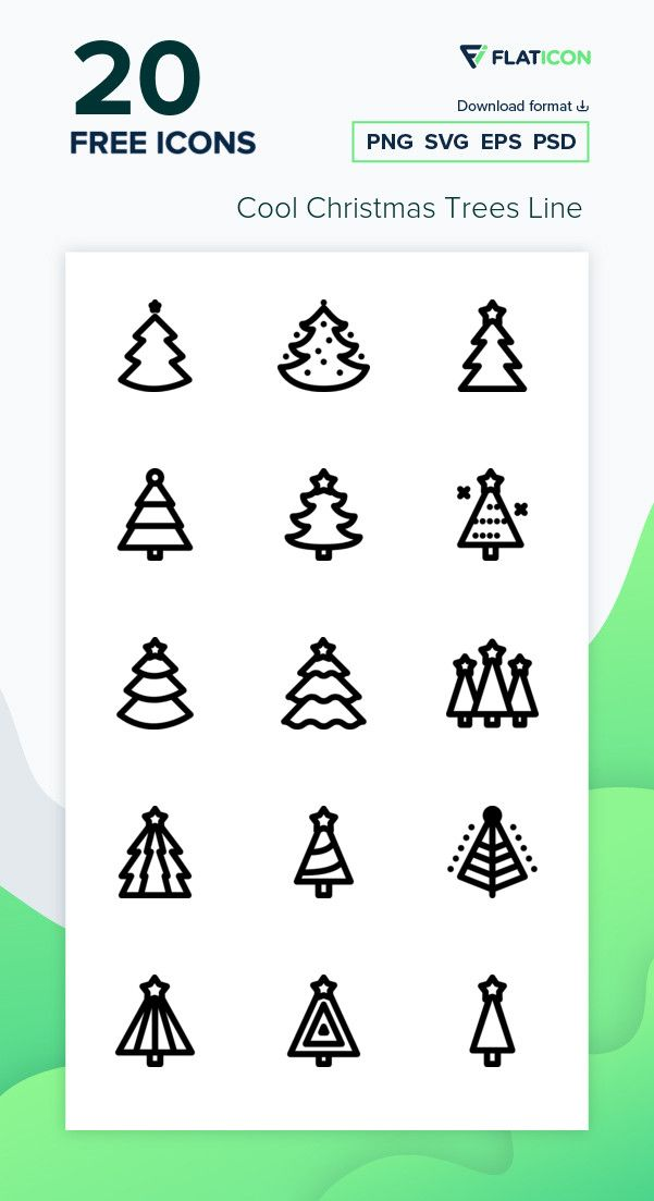 20 Free Vector Icons Of Cool Christmas Trees Line Designed By Freepik Cool Christmas Trees Free Icon Packs Free Icons