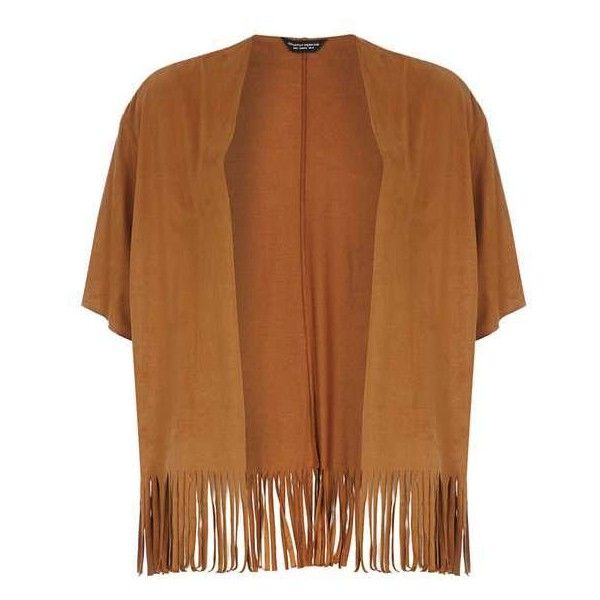 Tan fringe suedette cardigan (£22) ❤ liked on Polyvore featuring tops, cardigans, outerwear, tan cardigan, fringe top, brown fringe top, dorothy perkins and brown tops