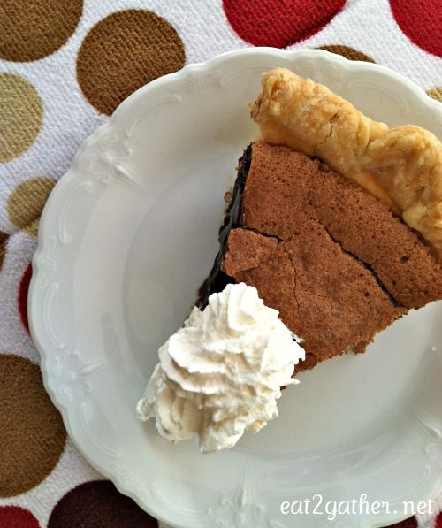 """Minny's Chocolate Pie, inspired by """"The Help""""- without the added ingredient. Ha ha"""