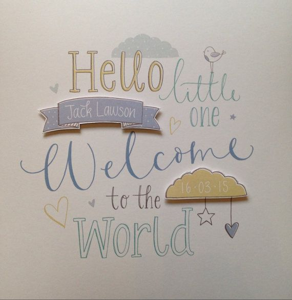 New Baby Boy 'Welcome to the world' by NikkiWhistonInks on Etsy