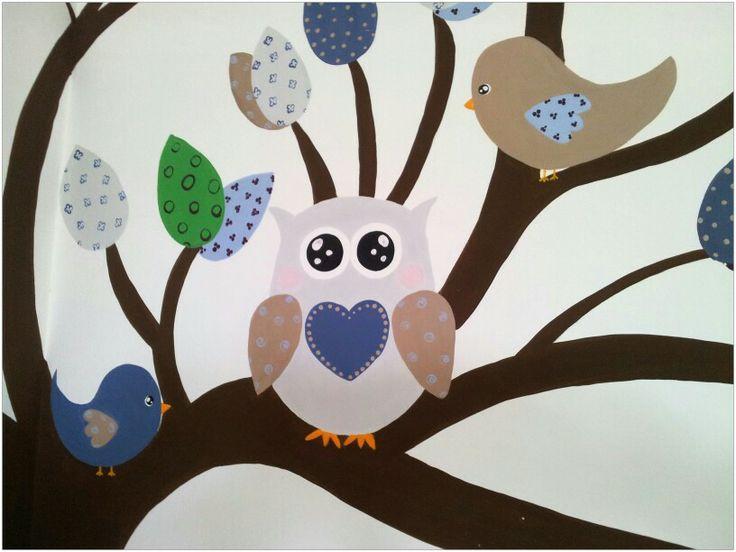 Dipinto su parete Murales #owl #dipintosuparete #cameretta