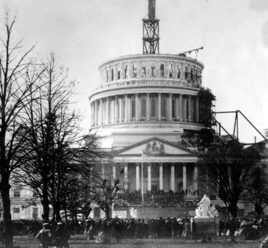 The Inauguration of Abraham Lincoln, March 4, 1861 at the unfinished Capitol, Washington D.C.