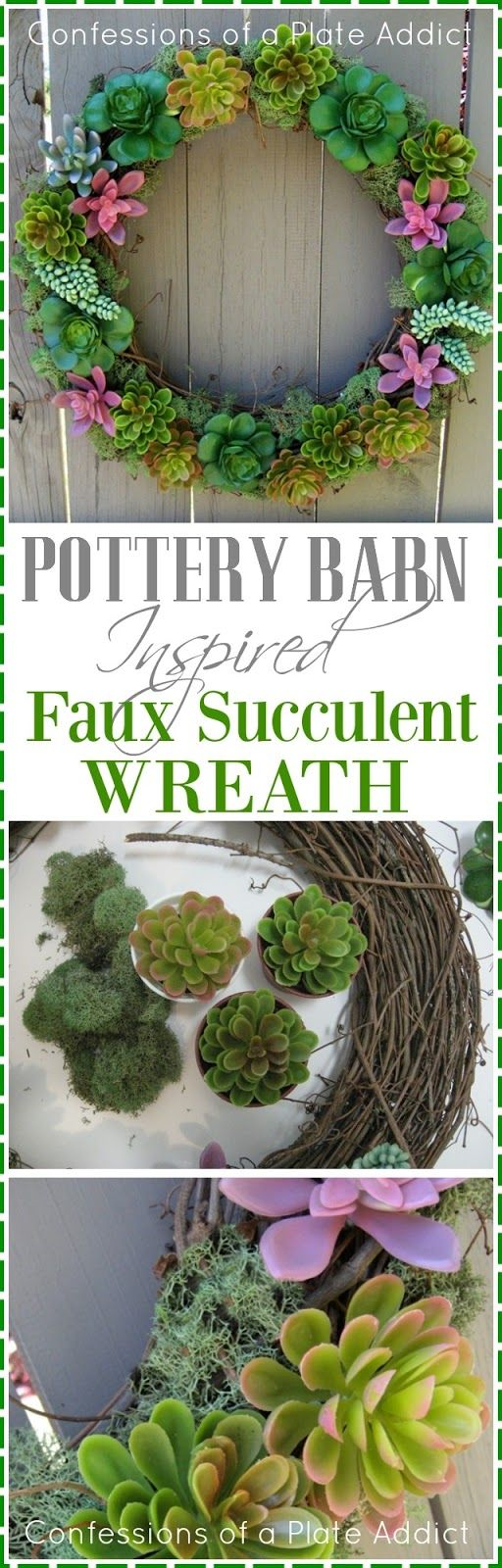 CONFESSIONS OF A PLATE ADDICT Pottery Barn Inspired Faux Succulent Wreath