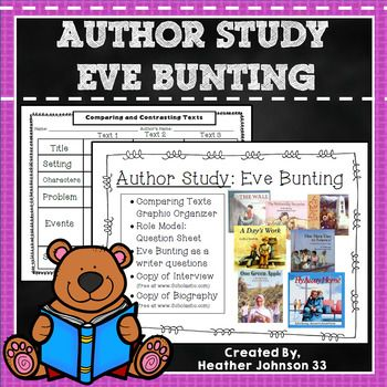 This is an Author Study to do with Eve Bunting. Students can compare different Eve Bunting texts using the graphic organizer. They can also learn about Eve by reading the included biographical information. There are also questions included. It includes: •Comparing Texts Graphic Organizer •Role Model: Question Sheet •Eve Bunting as a writer
