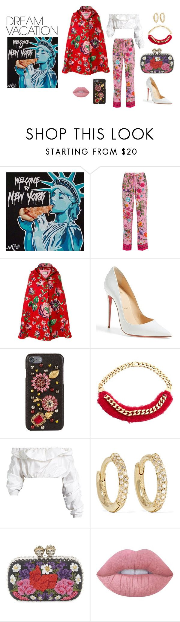 """#PolyPresents: Dream Vacation-New York"" by nabilaezan ❤ liked on Polyvore featuring Gucci, Christian Louboutin, Dolce&Gabbana, Fendi, E L L E R Y, Jennifer Meyer Jewelry, Alexander McQueen, Lime Crime, contestentry and polyPresents"