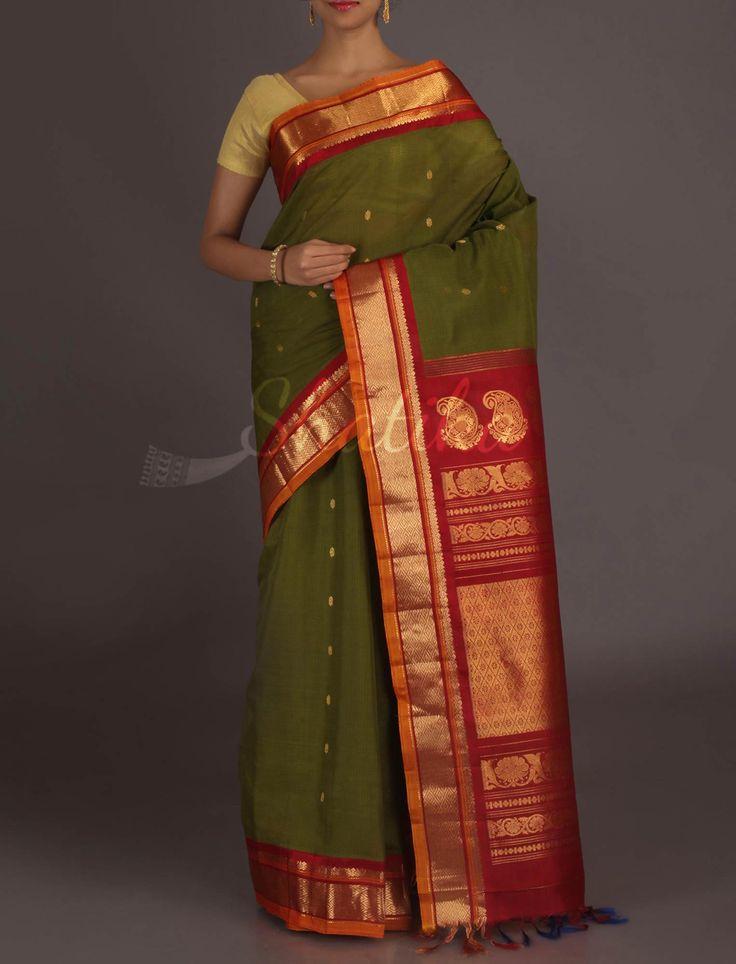 Savitri Heena Green With Rich Maroon #GadwalSilkCottonSaree