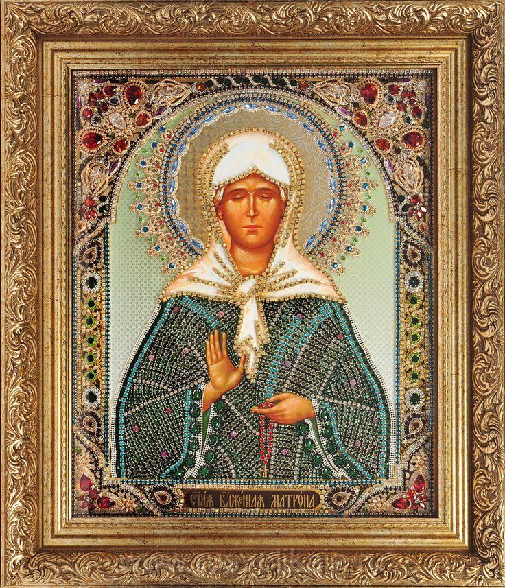 Вышитая стразами Сваровски икона св.Матроны Московской