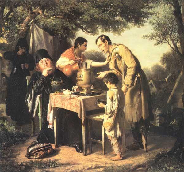 1862 | perov | tea time at mitischah, near moscow | аепитие в Мытищах, близ Москвы