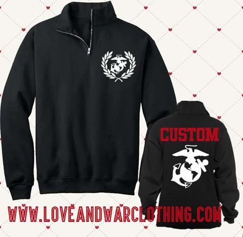 Custom Name 1/4 Zip USMC - LOVEANDWARCLOTHING