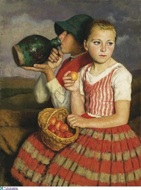 Брат  и  сестра.  Оскар Глатц родился 13 октября 1872 года в Будапеште, в богатой буржуазной семье. Отец рано заметил способности Оскара, и не стал возражать против его занятий живописью.  Венгрия.