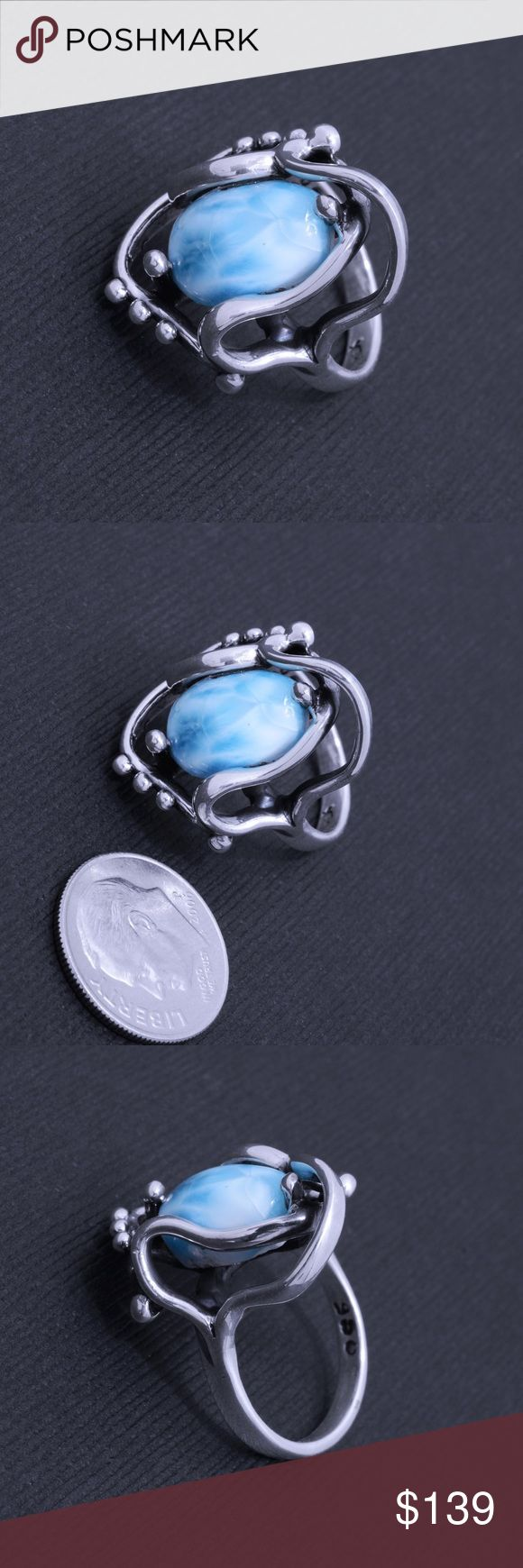 """950 Sterling & Larimar Ring Stamped """"950"""". Higher sterling finesse.  This is not a stock photo. The image is of the actual article that is being sold  Sterling silver is an alloy of silver containing 92.5% by mass of silver and 7.5% by mass of other metals, usually copper. The sterling silver standard has a minimum millesimal fineness of 925.  All my jewelry is solid sterling silver. I do not plate.   Hand crafted in Taxco, Mexico.  Will ship within 2 days of order. Jewelry Rings"""