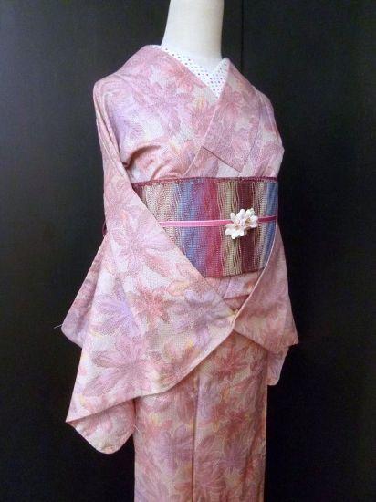 ■ガールズ■良品!!ピンク系*カラフルリーフ♪正絹紬 袷 裄64丈160ロング - アンティーク着物や現代着物なら雅星本店
