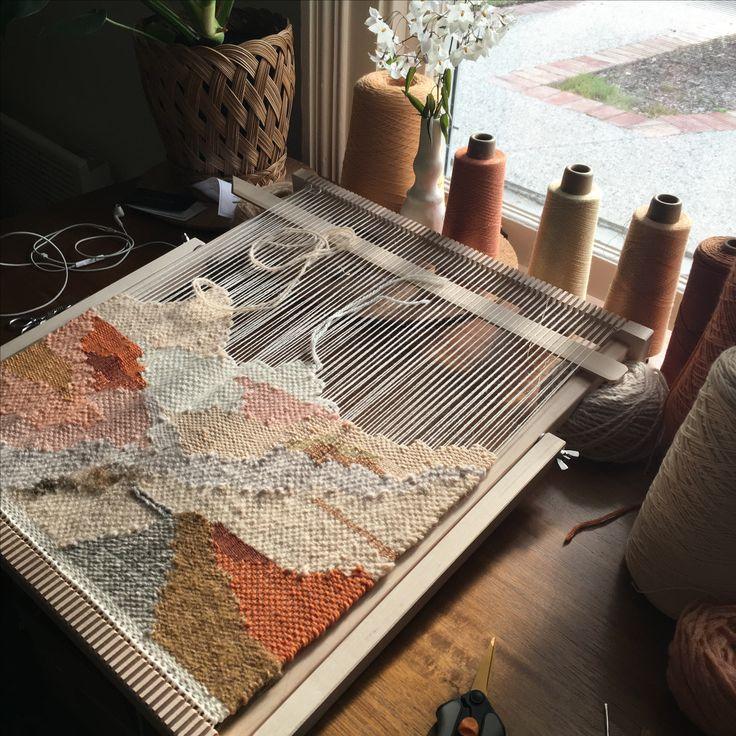 Weaving on the loom by Maryanne moodie