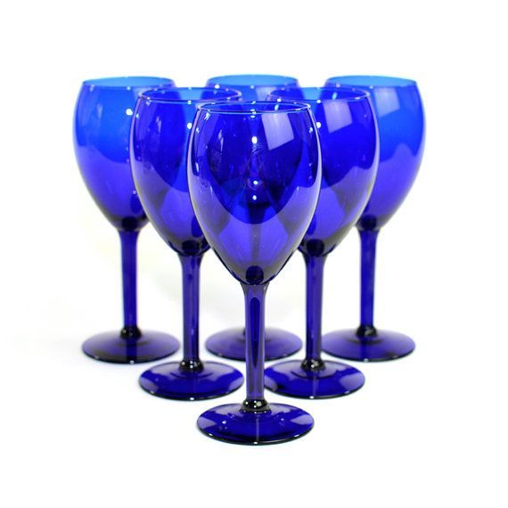 Cobalt Blue Wine Glass Water Goblet Set 6 Glasses