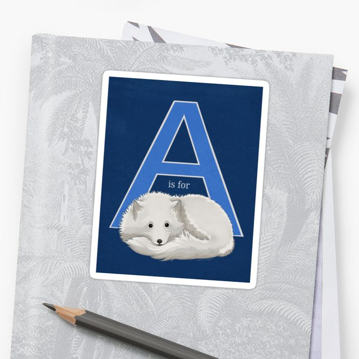 A is for Arctic Fox Stickers by AnMGoug on Redbubble. #fox #sticker #alphabet