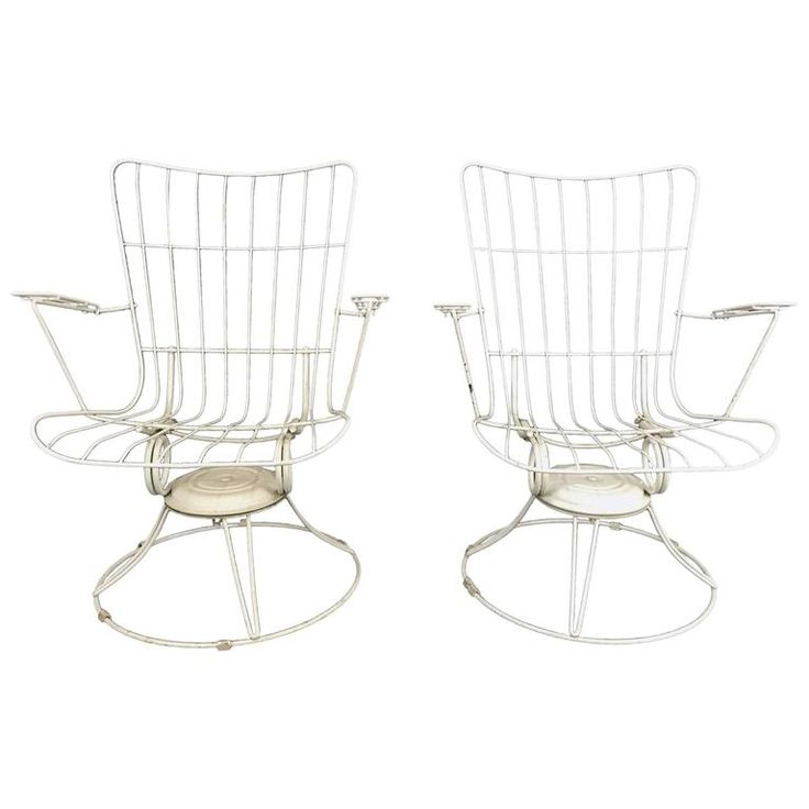 Pair of Mid-Century Modern Iron Tilt Swivel Sculptural Garden Chairs Homecrest | From a unique collection of antique and modern patio and garden furniture at https://www.1stdibs.com/furniture/building-garden/garden-furniture/