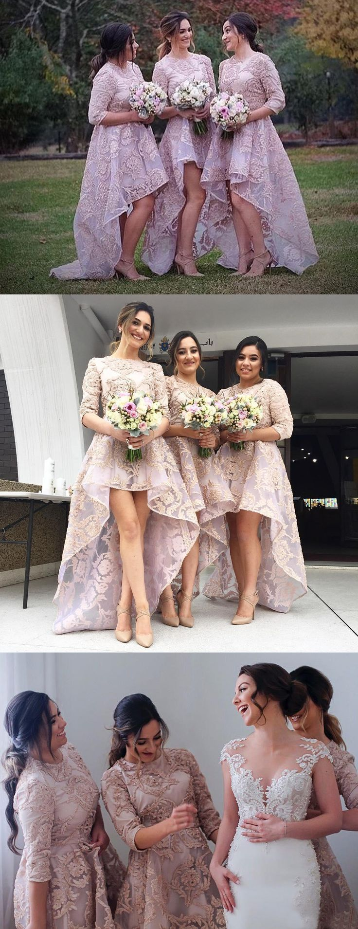 3/4 sleeves elegant bridesmaid dresses, pink high low organza fashion   wedding party dresses, modern bridesmaid dress with applique