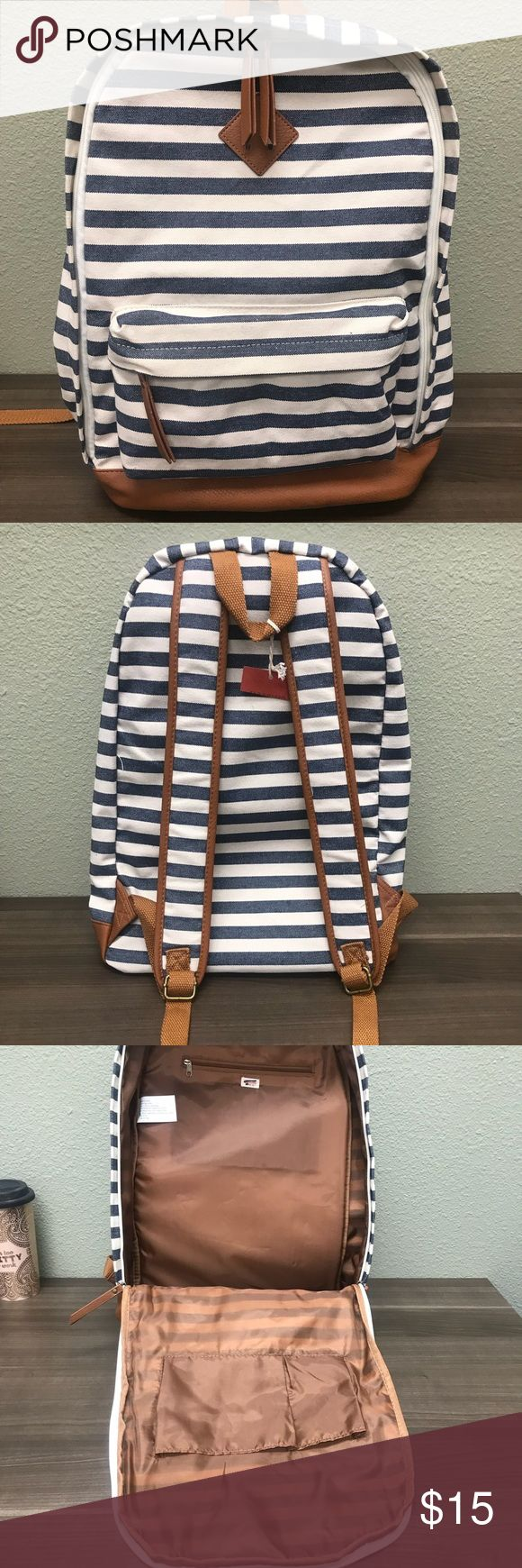 NWT Merona Striped Backpack Denim Blue and White New Merona Denim Blue and White Striped Backpack. See pics for measurements. Perfect for school, shopping trips or a day out exploring 😃. Note:  Half of the Merona tag has been cut off to prevent returns. Merona Bags Backpacks