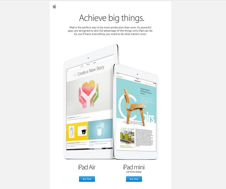 Nice clean newsletter from apple. Grey on white