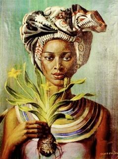 Vladimir Tretchikoff - Woman with Plant  http://www.mua.co.za/ #Art #Insurance