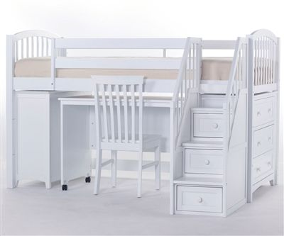 School House Junior Store and Study Low Loft Bed with Stairs | NE Kids Furniture | White Twin Loft Bed with Desk (100% solid hardwood construction) $1635