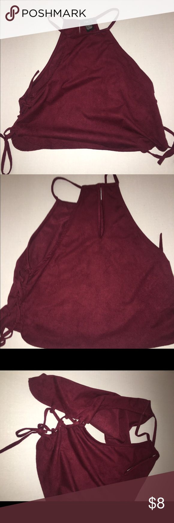 Rue 21 burgundy halter top Rue 21 Burgundy halter top tied up sides Rue 21 Tops Crop Tops