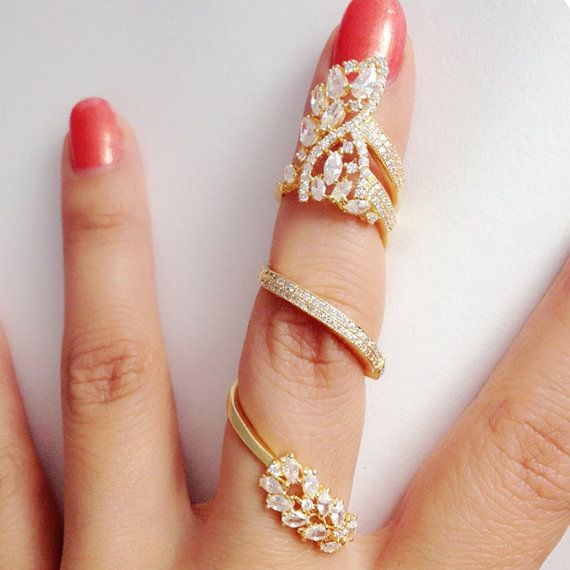 Trendy Clear CZ Revolving Full Finger Ring by QueensJewelryOutlet