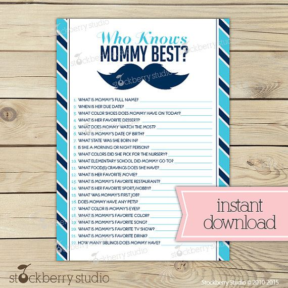 Little Man Baby Shower Who Knows Mommyu0027s Best Game Printable   Mustache Baby  Shower Game   Instant Download   Blue Navy Blue