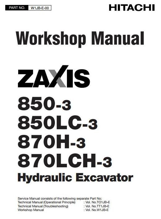 Original Illustrated Factory Workshop Service Manual for Hitachi Hydraulic Excavator Type Zaxis 850.Original factory manuals for Hitachi Excavator Mashines, contains high quality images, circuit diagrams and instructions to help you to operate and repair your truck. All Manuals Printable and contai